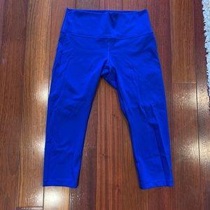 Lululemon wunder under crop sz 10 sapphire blue